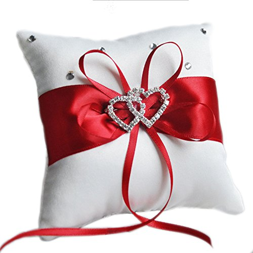 Outflower Double-Heart Strass Hochzeit Ring Kissen der 10 x 10 cm (lila) rot