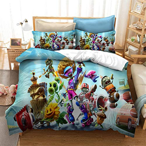 Enhome 3D Bedding Set - Printed Quilt Cover with Zipper Closure + Pillowcases, Microfiber Duvet Cover Set Easy Care for Children Teen Adult Single Double King Bed (Plants vs.Zombies 2,220x240cm)