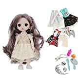 Ai-Fun 6 Inch BJD Girls Fashion Mini Doll Toys with 4 Replaceable Cloths and 7 PCS Doll Accoessaoried,Miniature Doll Set for Girls,Birthday Party Favors (A)
