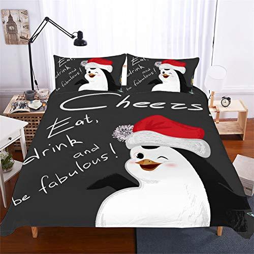 ZHYY Weihnachten Bettwäsche 3D Snowman Penguin Sloth Bettwäsche-Sets Bettlaken Bettbezug und Kissenbezug 3D Digital Printing Weihnachtsmann und Schneehaus (Farbe : #1, Size : UK Single-135×210cm)