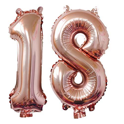 Meowoo Helium Luftballon Nummer 18 Geburtstag 100CM Folienballon Zahl Nummer Geburtstag Party Dekoration Supplies(Rose Gold Num 18)