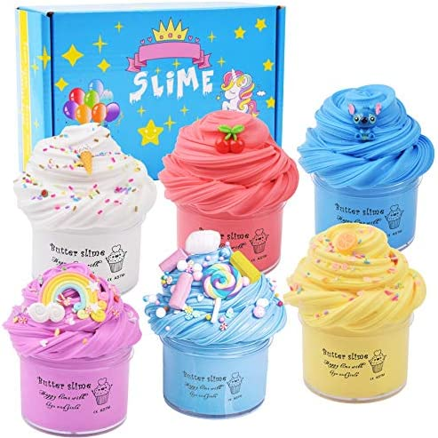 Upgrade 6 Pack Slime Kit with Coffee Cup, Peach, Watermelon,Mint Leaf ,Pineapple ,O-REO Slime, Super Soft and Non-Sticky DIY Butter Slime Toys …