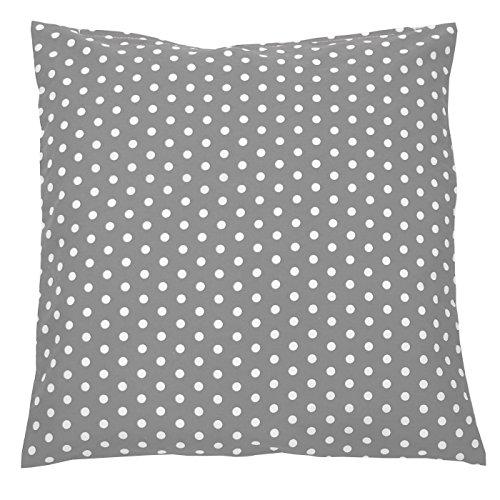 Sugarapple Kinderkissen Bezug 50x50 cm, Deko Kissen Hülle, 100% Baumwolle ÖkoTex Standard mit Reißverschluss, Grau Punkte weiß