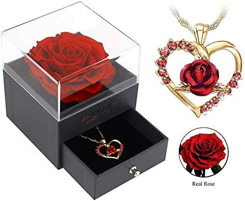 Rose im Schmuckschatulle,Schöne und das Biest Ewige Rose Blumen Konservierte Rose Lichterketten Romantisch Geschenk zum Geburtstag Jahrestag Haus Weihnachten Dekoration (Schmuckschatulle,One Size)