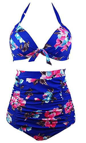 COCOSHIP Retro 50s Blue Red Floral Halter High Waist Bikini Carnival Swimsuit Bathing Suit L(FBA)