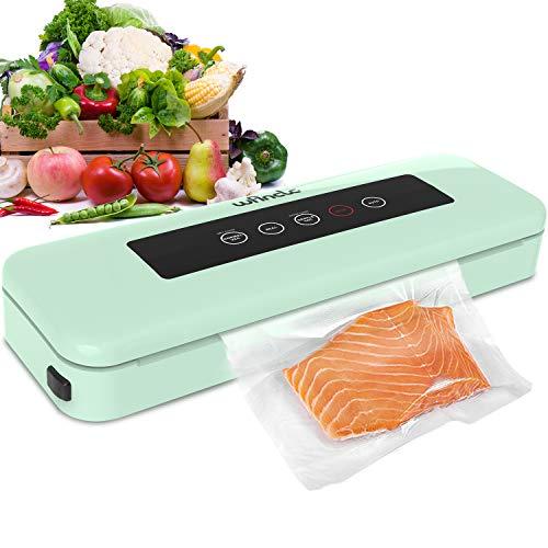 Wancle Macchina Sottovuoto per Alimenti - Automatica Sigillatore Sottovuoto Macchina per Alimenti Sia Secchi Che Umidi - Funzionamento con un Tasto con Spia LED - con 10 Sachetti Sottovuoto - 110W