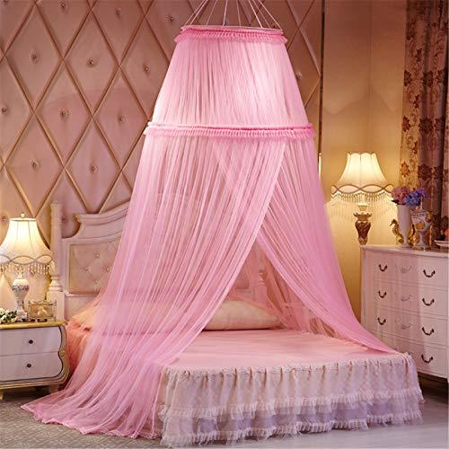Red de dosel para cama colgante Mosquitero Universal Red malla mosquitera encaje tipo domo Techo Interior/Exterior Decorativo para cubrir cama niños, cama adultos o cama tamaño completo,Pink 1