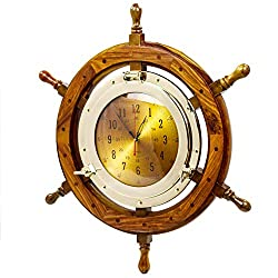 Nagina International 24 Exclusive Pirate's Nautical Ship's Steering Wheel Styled Porthole Clock | Lavish Wall Decor Gifts & Collectible (12 Clock)