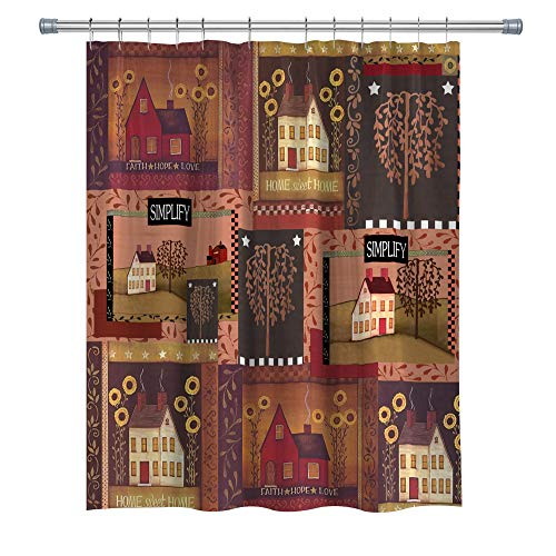 Country Decor Shower Curtain Sweet Home Faith Hope Love Simplify House, Polyester Fabric Bathroom Decor Curtain Set Hooks Included, 71X71 in