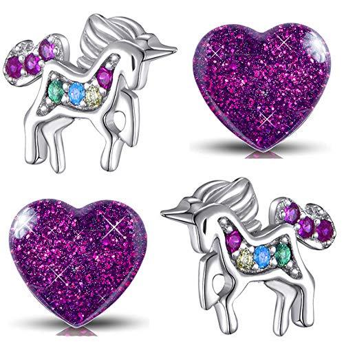 2x Mädchen Ohrringe aus echt 925 Sterling Silber mit Zirkonia Edelstahl kleine Kinder Ohrstecker Pferde Herz Einhorn (K955+K296 Kristall Glitzer)