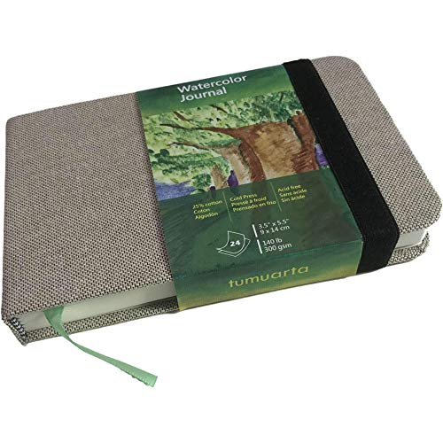 tumuarta Watercolor Journal, 3.5x5.5', 140 LB, 300 GSM, Cotton Paper, Cold Press, 48 Pages, Hardbound, Micro-Perforated, Watercolor Paper Handbook for Use As Travel Sketchbook and Mixed Media Pad