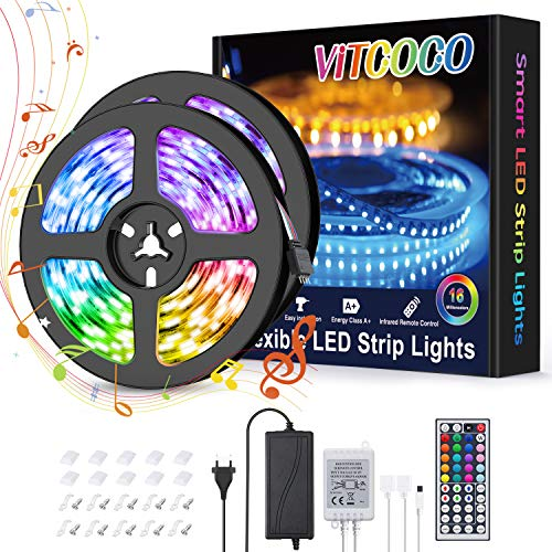 LED Streifen 10M VITCOCO Bluetooth LED Strip Kit RGB 5050SMD 300 LEDs Farbwechsel selbstklebend LED Lichtleiste Sync mit Musik, mit 24 Tasten Fernbedienung +12V Netzteil für Haus, Party Dekoration