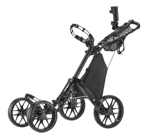CaddyTek One-Click Folding 4 Wheel Version 3 Golf Push Cart, Dark Grey