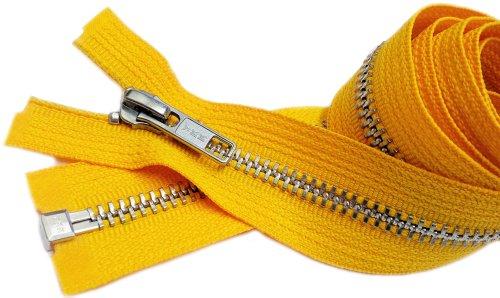 Zipperstop Wyprzedaż 96 cm kurtka zamek błyskawiczny (różne 2 kolory) YKK #5 metal aluminiowy - separacja średniej wagi - kolor pierwiosnek żółty i jaskier (2 zamki błyskawiczne/opakowanie)