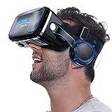 YMXLXL 3D VR Gafas de Realidad Virtual, VR Glasses Visión Panorámico 360 Grado Película 3D Juego Immersivo para Móviles 4.7-6.5Pulgada,Gafas VR con Auriculares,Negro