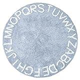 Fenteer Alfombra de bebé Redonda ABC Alfombra de Gateo Alfabeto Suave cálido Antideslizante colección de Tiempo de Juego alfombras de área Piso Regalo - Azul 160cm