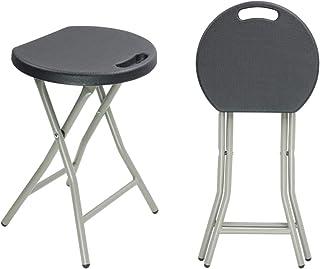 KKTONER Portable Metal and Plastic Folding Stool Light Weight Outside Chair Set of 2 Black
