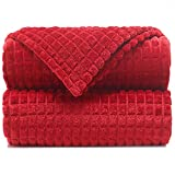 """Throw Blankets – 50""""x60"""", Red Dahlia - Lightweight Flannel Fleece - Soft, Cozy - Perfect for Bed, Sofa, Couch"""