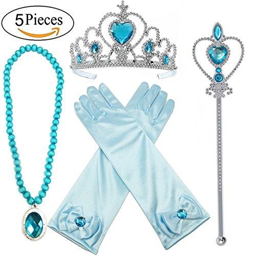 Alead Principessa Elsa accessori abito Blu per le ragazze 4 pezzi tiara, bacchetta, guanti e collana