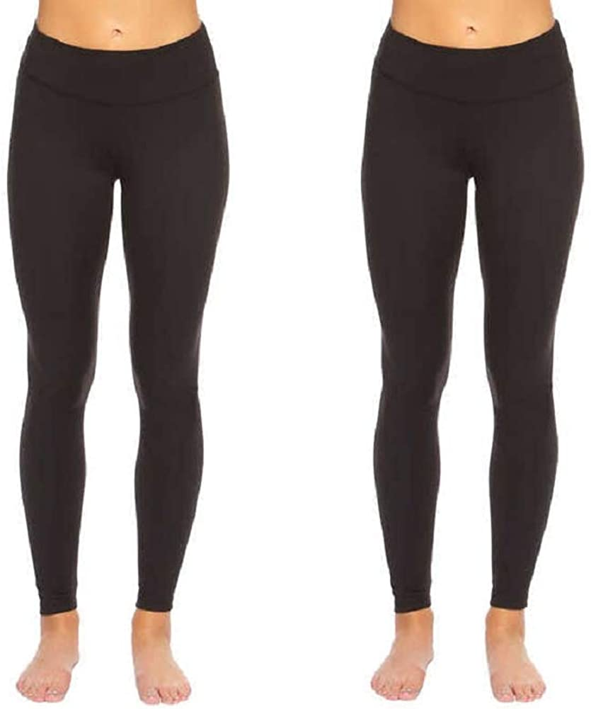 Felina Leggings Wide Waistband Suede Light Weight Super Soft Mid Rise Silhouette 2 Pack