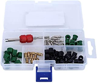 Auto herramienta de A/C Aire Acondicionado Válvula Core Remover instalador Surtido Kit (10pcs Válvula núcleos + 50pcs manguera juntas + 10pcs Válvula + 1Remover herramienta)
