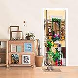SONYUN Pegatinas De Puerta 3D Etiqueta De La Puerta Bicicleta Creativa Verde 95X215cm Vinilo Papel Pintado Autoadhesivo Puertas Impermeable Arte Calcomanía Murales Hogar Dormitorio Decoración