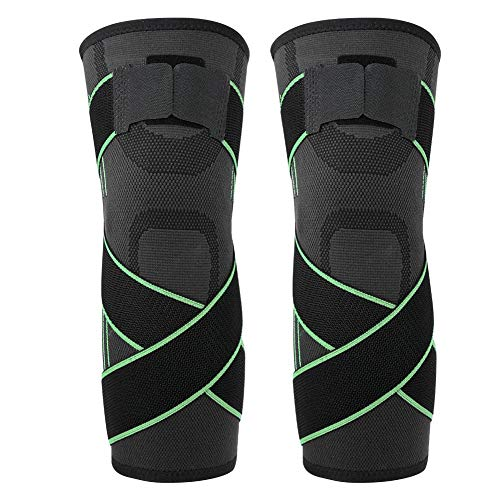 Zerone Compression Knee Brace Sleeves Sport Protective Knee Pads Breathable Knee Support for Running Basketball Cross fit Squats Lifting Knee Protector(L-Green)
