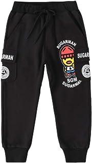HOSD2019 Primavera y otoño Nuevo Big Boy Boy Pantalones de Punto Negro Estirar Hilo de algodón Pantalones Casuales Pantalones