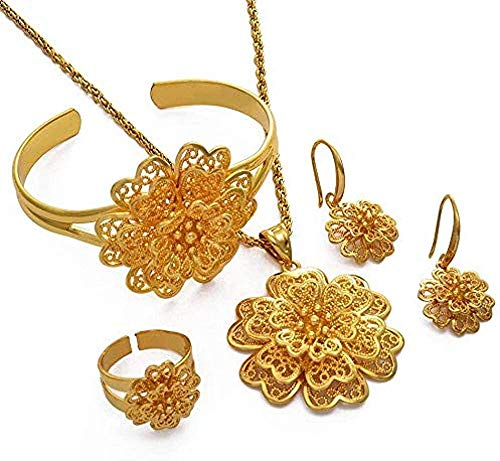 LLJHXZC Collar Conjunto De Joyas De Flores De Color Dorado De África, Collar con Colgante De Dubai, Pendientes, Pulsera, Anillo, Conjunto Árabe Nupcial, Regalo Etíope Collar Collar