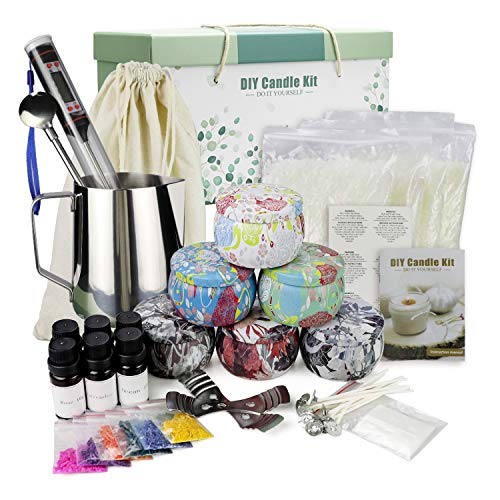 Scented Candle Making Supplies DIY Kits with Bees Wax, Fragrance Oil, Cotton Wicks, Pot, Dyes, Candle Jars(4.4 OZ× 6)