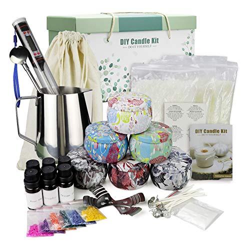 Yinuo Mirror Kit de Fabricación de Velas, DIY Velas Perfumadas, Hacer 6 Velas Grandes de Soja Perfumadas, Cera de Soja, Aromas Ricos, Tintes, Termómetro, Mechas, Jarra de Fusión, Latas Y más