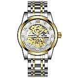 JTTM Relojes, Relojes Hombre Mecánico Automático Estilo Clásico Impermeable Números Esfera con Correa De Acero Inoxidable,Gold White