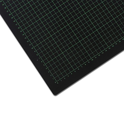 Selbstheilende Schneidematte, 90 x 120 cm | Mit Hilfslinien, schont Klingen | Schneide-Unterlage, Cutting Board/Mat für Patchwork | grün/schwarze Bastelmatte, Bastelunterlage, Arbeitsunterlage | Beidseitig verwendbar als Nähunterlage