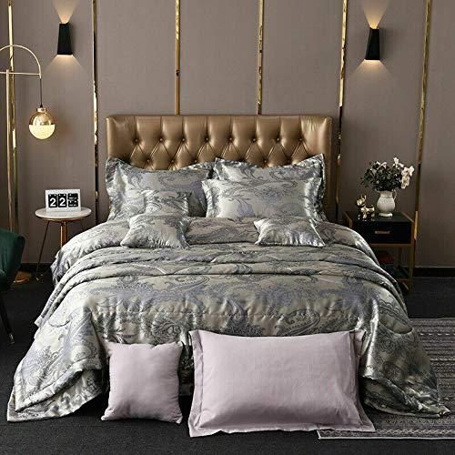 Aritraderslt Jacquard Satin Seide 3- & 5-teiliges Bettwäsche-Set mit Bettdeckenbezug & Tagesdecke, wendbar, bestickt, Hotelqualität, superweich, feste Unterstützung, grau, BEDSPREAD
