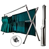 iEllevie Rolling Fodable Double Rods Stainless Steel Expandable Clothes Drying Rack with Two Wheels Rust-Proof Guarantee, 55-95 Inch