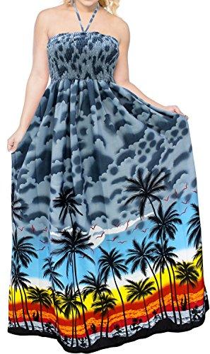 LA LEELA Women's Hawaiian Tube Top Bathing Suit Cover Up Dress US 0-14 Grey_M444