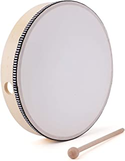 Foraineam 10 Inch Hand Drum Kids Percussion Wood Frame Drum with Beater