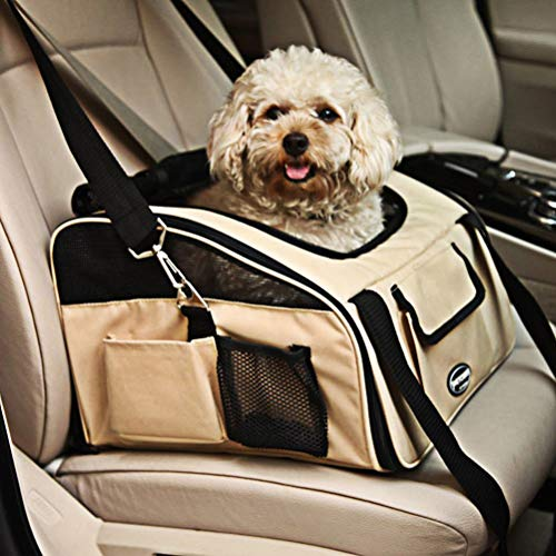 None Pet Car Seat Carrier Airline Approved for Dog Cat Lookout Pets up to 20 lbs (Large, Khaki)