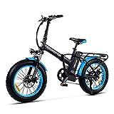 Addmotor Couple Bike 20' Motan M-150 Foldable Electric Bike, 750W 48V 16Ah Removeable Battery, Commuter Colorful E-Bike Gift for Adults Teens (Blue (Spoke Wheel))