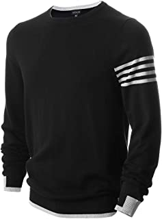 AFAIK Men's Crew Neck Pullover Cotton Knitted Long Sleeve Casual Sweater