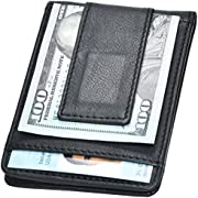 Clifton Heritage Handmade Mens Money Clip, Front Pocket Wallet,Geniuine Leather RFID Blocking Strong Magnet thin Wallet