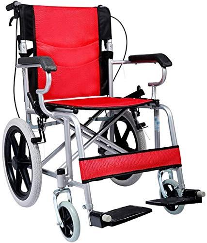 Silla de ruedas de ayuda a la movilidad Transporte de aluminio silla de ruedas con asiento 46cm - plegable for sillas de ruedas for el transporte y almacenamiento - 16 pulgadas las ruedas traseras for