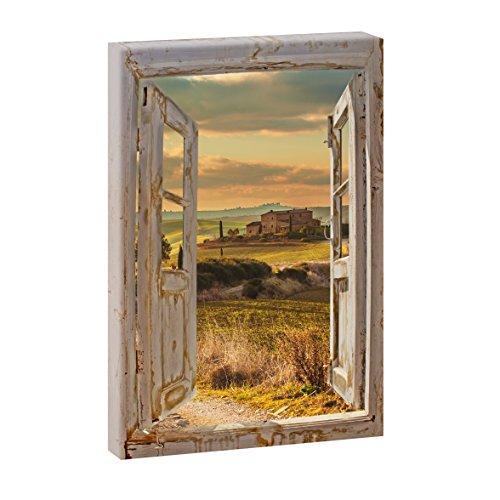 Querfarben Fensterblick Toskanische Felder   Panoramabild im XXL Format   Kunstdruck auf Leinwand   Wandbild   Poster   Fotografie (100 cm x 65 cm   Hochformat, Farbig)
