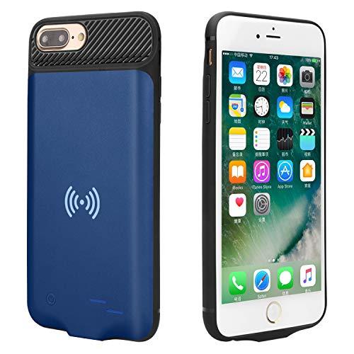 Epuirie Compartiment de batterie pour iPhone 6 Plus / 6S Plus / 7 Plus / 8 Plus - Avec charge sans fil standard QI - 5000 mAh - Batterie externe rechargeable (bleu)