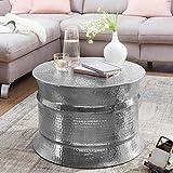 FineBuy Couchtisch 62 x 41 x 62 cm Aluminium Beistelltisch orientalisch rund | Flacher Hammerschlag Sofatisch Metall | Design Wohnzimmertisch modern | Loungetisch indisch