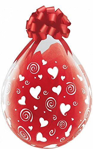 """18"""" Qualatex Clear Stuffing Balloon Printed Swirling Hearts 25ct"""