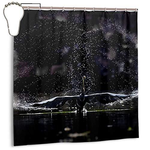 PQASDC Cortina de ducha eficiente de secado rápido para baño, cortina de ducha decorativa de 182 x 182 cm, juego de cortina con 12 ganchos para el baño, diseño de pájaros hundidos