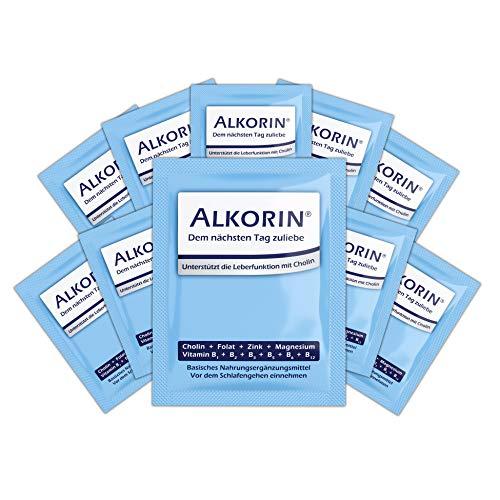 ALKORIN® 10 Sachets - dem nächsten Tag zuliebe. Unterstützt die Leberfunktion mit Cholin. Multivitamin Basenpulver mit Magnesium, Zink, Folsäure, Elektrolyten, Vitamin B1 + B2 + B3 + B5 + B6 + B12