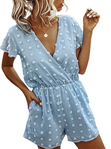 Angashion Women's Rompers-Summer Deep V Neck Wrap Floral Polka Dot Short Sleeve Beach Short Jumpsuit Blue S