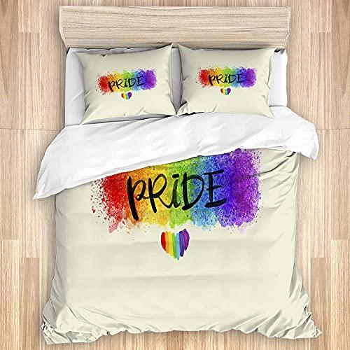 Wall Aion Funda nórdica, Colorido Estilo Acuarela LGBT Orgullo Gay con Estampado de corazón...
